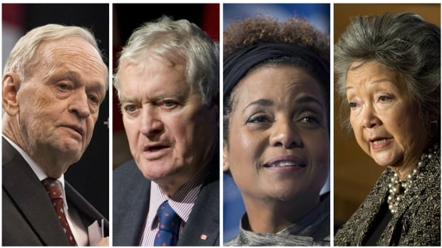 Former prime ministers Jean Chrétien and John Turner, and former governors general Michaëlle Jean and Adrienne Clarkson, engaged in friendly conversation at the swearing-in ceremony after the Prime Minister's Office seated them next to each other.