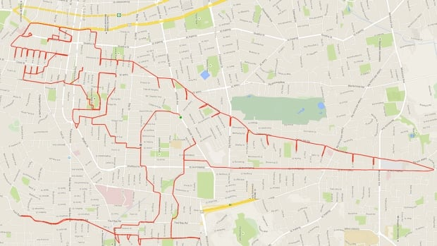 Victoria cyclist Stephen Lund created this Tyrannosaurus rex doodle using a GPS device, his bicycle and creative route selection.