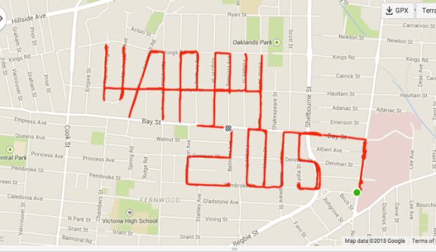 Stephen Lund's 1st GPS doodle on New Years 2015