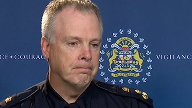 Calgary police Chief Roger Chaffin, shown speaking to reporters on an earlier occasion, said at a Monday morning news conference that a standoff with a gunman in Huntington Hills 'escalated' when the suspect left the home.