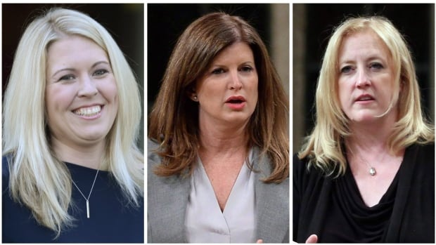 Michelle Rempel, left, Rona Ambrose, centre, and Lisa Raitt are expected to play key roles in the Conservative Party's rebuilding process.
