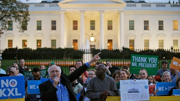 A gathering in front of the White House celebrates U.S. President Barack Obama's rejection of the proposed Keystone XL pipeline.