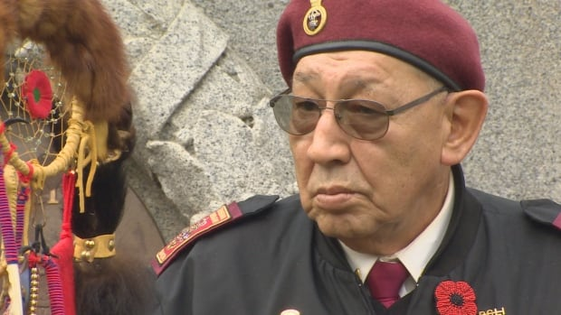 An veteran who attended National Aboriginal Veterans Day in Vancouver on November 8, 2015.