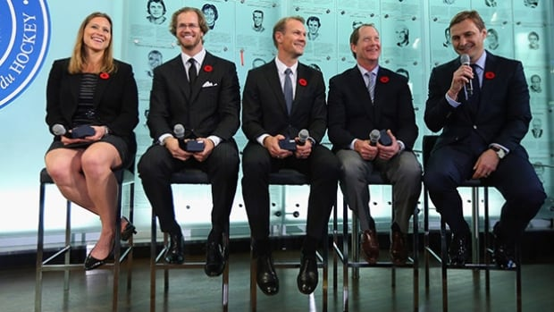The five players being inducted into the Hockey Hall of Fame this year are, from left, Angela Ruggiero, Chris Pronger, Nicklas Lidstrom, Phil Housley and Sergei Fedorov.