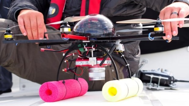This custom-made hexacopter is used by the joint research team to observe endangered orcas. Researchers with the team say the whales don't seem to mind.