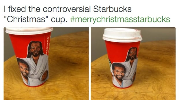 The #StarbucksRedCup hashtag is now largely filled with jokes, creative DIY designs, and mockery of Christians who were allegedly offended by the coffee company's 2015 holiday cup. This creation by Jamilah Lemieux features U.S. Republican candidate Ben Carson with his pal, Jesus.