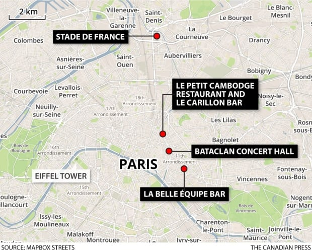 Paris attack map