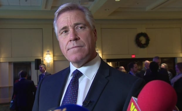 Dwight Ball speaks with reporters in St. John's