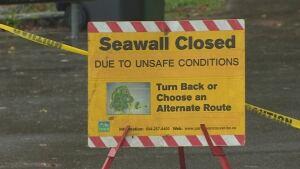 Seawall closed