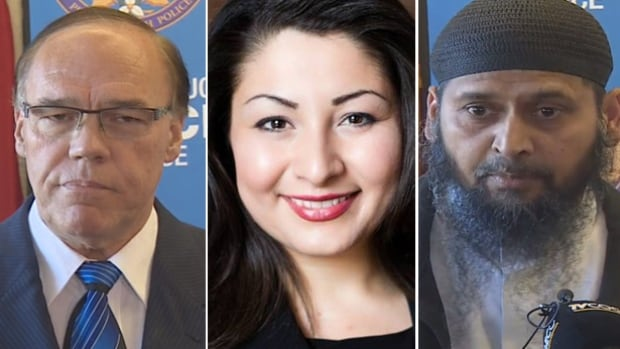 Community leaders in Peterborough, Ont., from left to right, Mayor Darryl Bennett, MP Maryam Monsef and Imam Shazim Khan, on Monday talked about a deliberately set fire at the community's sole mosque.