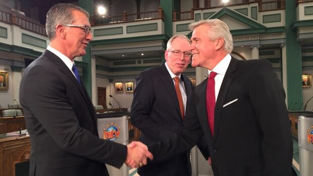 The leaders of Newfoundland and Labrador's three political parties, Paul Davis, Earle McCurdy and Dwight Ball, engaged in a spirited debate Monday night that was televised by NTV.