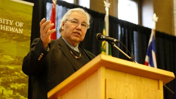 Justice Murray Sinclair, chair of the Indian Residential Schools Truth and Reconciliation Commission, speaks at the Building Reconciliation forum.