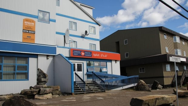 Iqaluit's post office, seen here in summer, has seen its usual volume of customers triple during the holiday season.