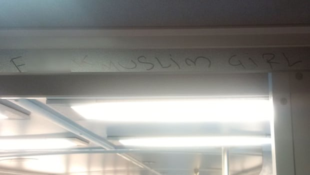 Metrolinx staff discovered this anti-Muslim graffiti in a GO Transit train on Wednesday night. This image has been modified to obscure profanity.