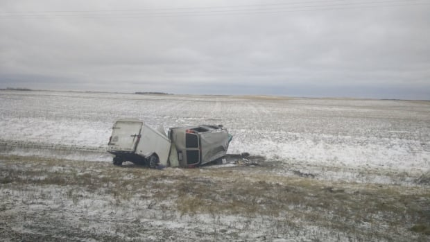 Wind gusts on a Saskatchewan highway sent the band's van and trailer flying off road. Luckily everyone walked away.