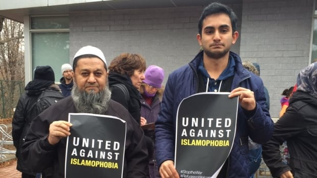 Hundreds met at Valley Park Middle School in Toronto's north end Saturday to support Muslim residents after several attacks targeted members of that faith community.