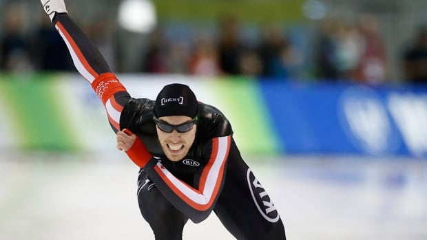 Canada's Will Dutton skates to a second-place finish during the men's 500 metres at the World Cup speed skating event in Utah on Sunday. The native of Humboldt, Sask., reached the podium twice Sunday and has four medals in as many 500-metre races on the World Cup circuit since his return from a six-month retirement.