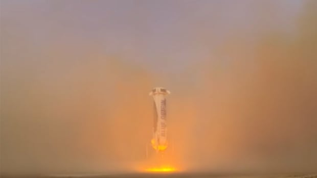 Blue Origin's rocket landed just 1.4 metres from the centre of the launch pad during a flight on Monday, founder Jeff Bezos said.