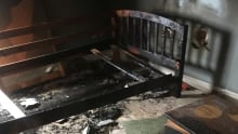 Burned bed, fire caused by playing with matches