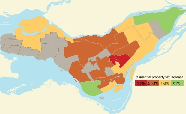 Property tax increases in Montreal