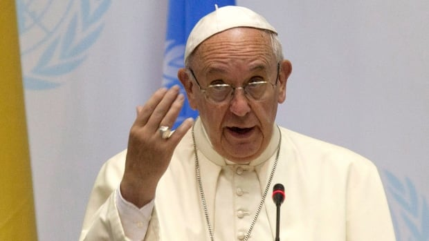 Pope Francis speaks at the United Nations regional office in Nairobi, Kenya, Thursday. He warned it would be 'catastrophic' if interest groups block a global agreement to curb fossil fuel emissions.
