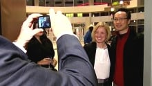 Rachel Notley arrives at a Calgary fundraiser Thursday evening