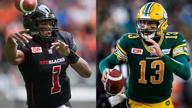 The 103rd Grey Cup features a marquee quarterback matchup between Ottawa's Henry Burris, left, and Edmonton's Mike Reilly.