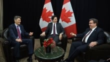 Justin Trudeau with Gregor Robertson and Dennis Coderre in Paris