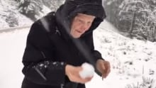 101 year old woman playing in snow