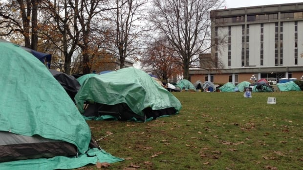 The tent city on the courthouse lawn, as it appeared in November, when approximately 50 people were living there.