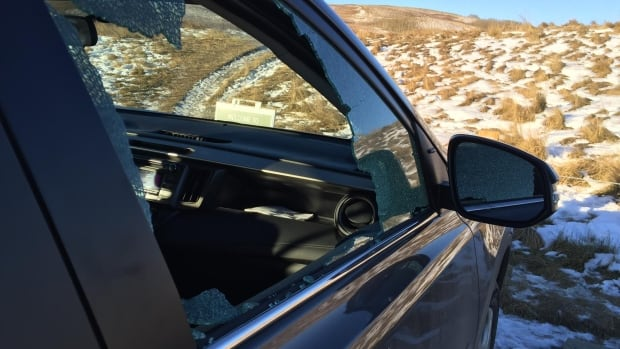 Criminals targeted this vehicle, smashing the side window and grabbing a purse inside while it was parked at Nose Hill Park.