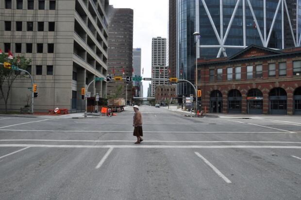 Empty downtown Calgary