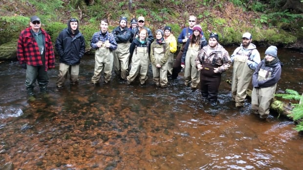 These second year students from Holland College were excited to get a first-hand look at the nests of the unique salmon in the Cross River.