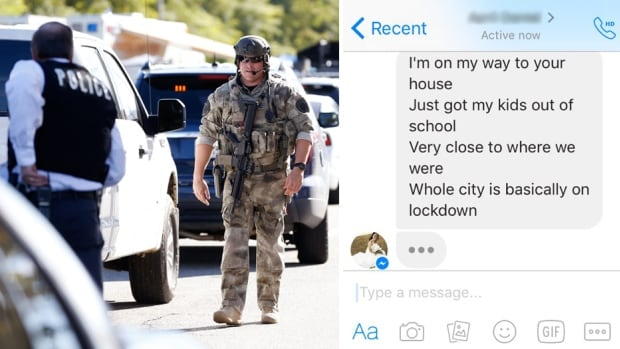 Police officers secure the area after at least one person opened fire at a social services agency in San Bernardino, Calif. Locals have been reacting with fear and anxiety as they check if family and friends are safe.