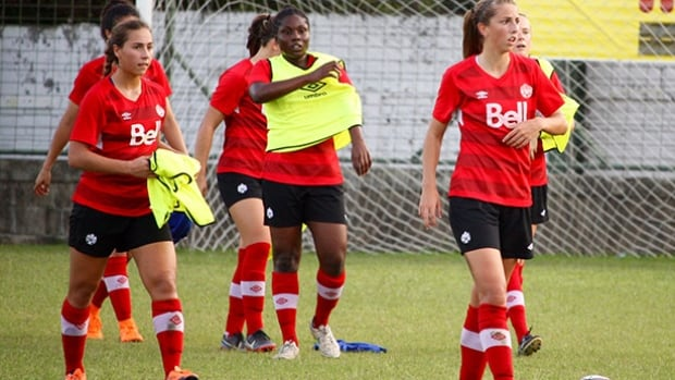 Canadian players, from left to right, Sarah Stratigakis, Mika Richards and Sarah Kinzner are hoping to qualify for the 2016 FIFA U-20 Women's World Cup in Papua New Guinea.