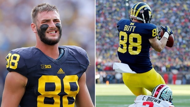Tight end Jake Butt of the Michigan Wolverines has an incredible athletic record, and perhaps an even more incredible combination of position and name.