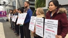 Canadian Youth Delegation protest at Paris climate summit