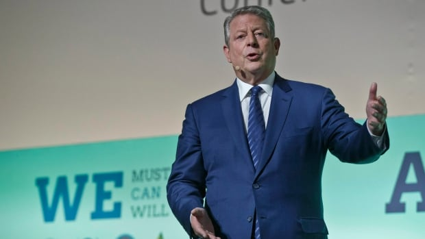 Former U.S. vice president Al Gore gestures as he speaks during Action Day at the United Nations Climate Change Conference, in Le Bourget north of Paris, on Saturday, Dec. 5, 2015.