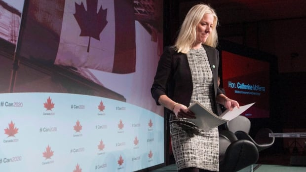 Environment and Climate Change Minister Catherine McKenna, seen at a conference in Ottawa last month, says she's 'honoured' to be asked to help facilitate the final stage of Paris climate change talks.