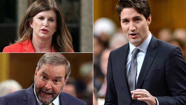 Interim Conservative leader Rona Ambrose, top left, NDP Leader Tom Mulcair, lower left, and Prime Minister Justin Trudeau, right.