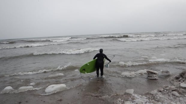 """""""These were taken late January of this year. Air temp was around -15°C with a windchill in the -20°.  The waves weren't the biggest but it was a fun day,"""" said Robin Pacquing."""
