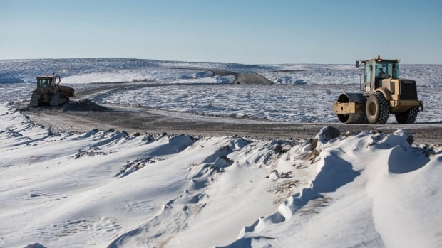 Crews work on the Tuktoyaktuk end of the Inuvik to Tuk all-weather road.