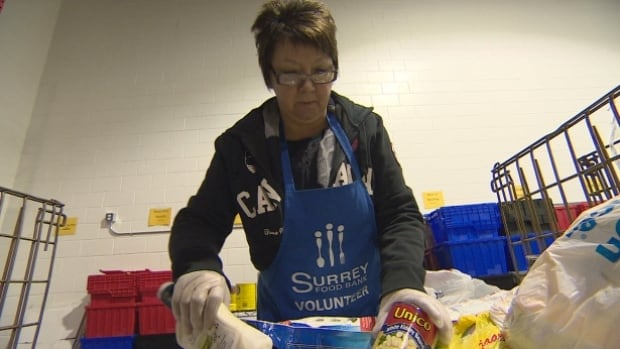 A volunteer with the Surrey Food Bank Society sorts through items.