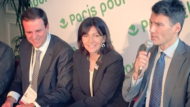 Gregor Robertson speaks about cities' roles in battling climate change with Paris Mayor Anne Hidalgo and Rio De Janerio Mayor Eduardo Paes.