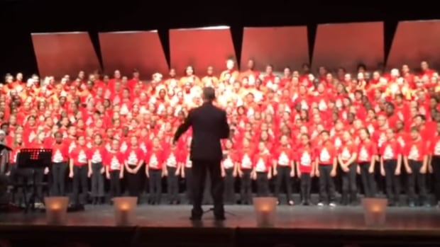 A children's choir made up of more than 200 Ottawa-area schoolchildren sing a traditional Arabic song at a December 2015 concert. A video of the performance posted to YouTube earlier this week has been viewed more than 500,000 times.