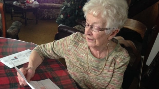 Viola Eisnor looks at the $770.43 Nova Scotia Power bill she received for her summer cottage. The bill from September to May usually amounts to $40 to $60.