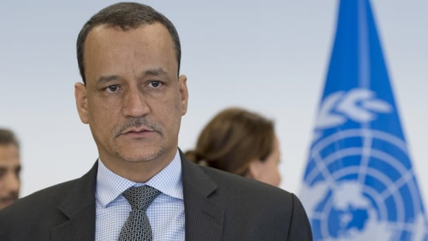 UN Secretary-General Special Envoy Ismail Ould Cheikh Ahmed opens with delegations from Sanaa at the Yemen peace talks in Switzerland Tuesday.