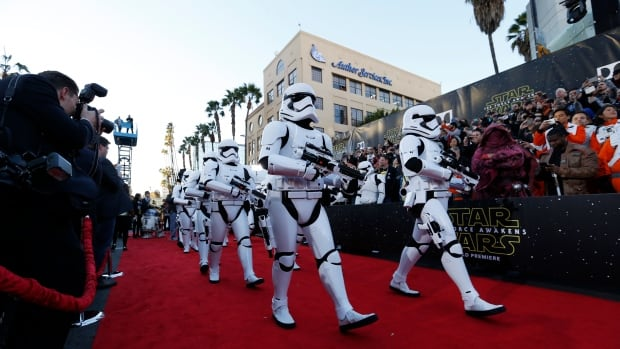 Stormtroopers took over the red carpet at The Force Awakens world premiere Monday.