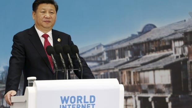 China's President Xi Jinping speaks Wednesday during the opening ceremony of the 2nd annual World Internet Conference in the Wuzhen town of Jiaxing, Zhejiang province.