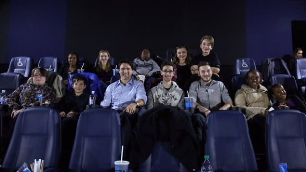 Prime Minister Justin Trudeau shared this photo on Twitter Tuesday night after hosting a private screening of Star Wars: The Force Awakens with 20 patients of the Children's Hospital of Eastern Ontario (CHEO).